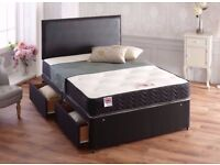 CHEAPEST PRICE - NEW DOUBLE OR KING DIVAN BASE WITH WIDE RANGE OF MEMORY FOAM MATTRESSES FOR SALE