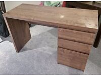 Walnut effect desk with 3 drawers