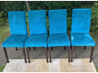 4 x Ex-display Teal Fabric and Walnut Dining Chairs
