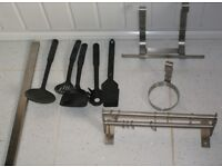 DOUBLE STAINLESS STEEL RAIL WITH HOOKS, UTENSILS, PAPER CUP AND MAGNETIC KNIFE HOLDERS £18 CAN POST