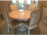 Italian White Ash Table and four Chairs