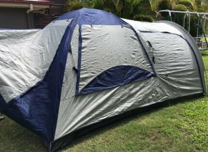 As new Oztrail Tasman 4V plus dome tent-4 person plus extra room & Jackeroo 10 Man 2 Room Dome Tent. Plus Brand New Air bed ...