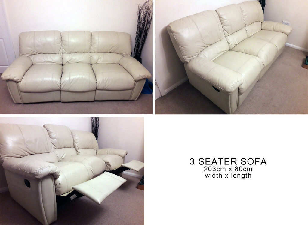 Leather Style 3 Seater Recliner Sofa