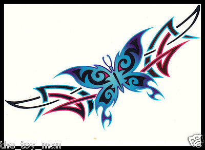 LOWER BACK SHOULDER TRAMP STAMP TRIBAL TEMPORARY TATTOO~BLUE BUTTERFLY FOR WOMEN Butterfly Lower Back Temporary Tattoo