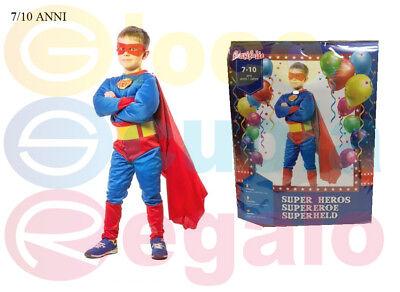 Costume Vestito Carnevale Superman con Muscoli Bambino 7 10 anni