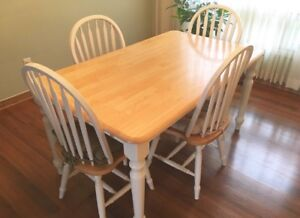 Solid Wood Dining Set with 4 Chairs