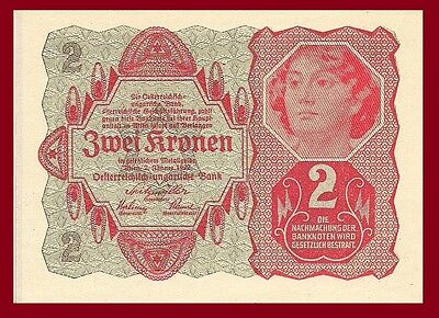 Austria P74, 2 Krone, young woman, 1922, UNC