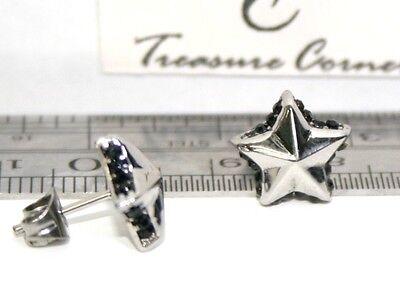 US Seller Star Shape stud Earrings Stainless Steel Cubic Zirconia Gift Blk or W ()
