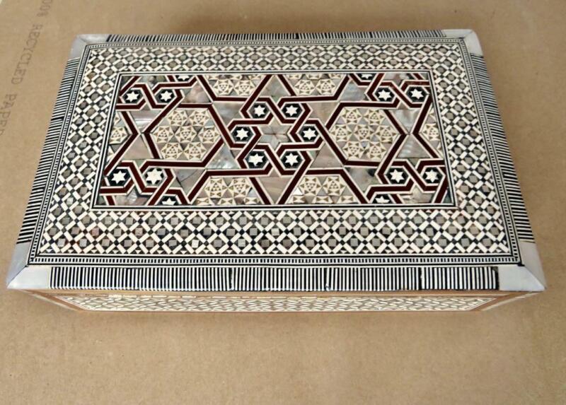 Vintage Persian Khatam MOP Inlaid Wood Large Jewelry Box 10x6x3 Boho Decor