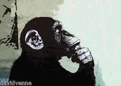 Thinker Monkey Banksy Graffiti Art Canvas ACEO Print