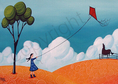 Whimsical landscape tree girl horse kite day Giclee ACEO print folk art Criswell - Whimsical Trees