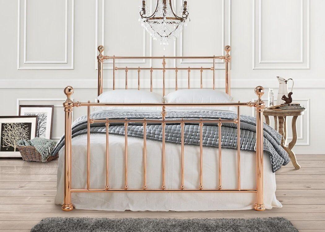 Oscar Luxury Vintage Rose Gold Metal Bed Frame 4ft6 Double