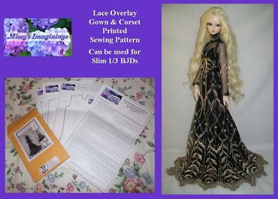 PRINTED PATTERN for Gown & Corset Set for Slim 1/3 bjd SD