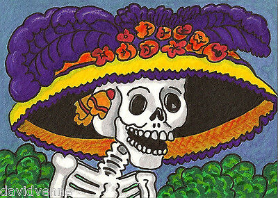 Day of the Dead 9 x 12 inch image on Zweigart Needlepoint Canvas ready to