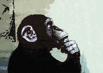 Banksy street art Thinker Monkey 8 x 10 inch Canvas Print