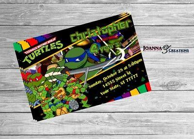 Ninja Turtles Invitation Digital File JPEG You Print English/Spanish - Ninja Turtles Invitations