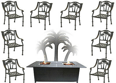Propane Fire Pit Table Set Patio Furniture 8 Palm Tree Dining Chairs
