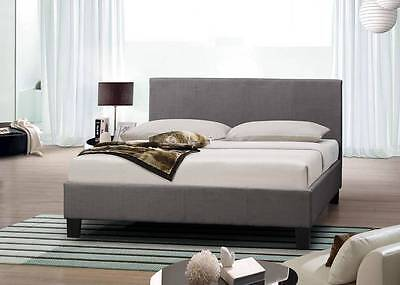 MODERN DESIGNER 4FT6 DOUBLE & 5FT KING SIZE FABRIC BEDS LEATHER BED GREY