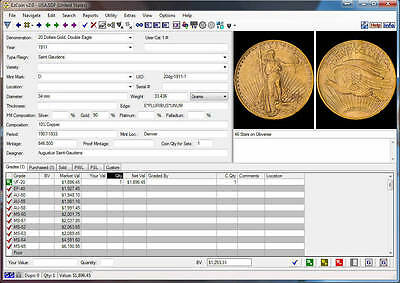Coin Inventory Software: EzCoin USA 2018 with Values+Images+Great Reports