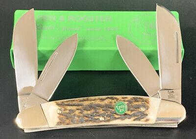 GERMANY HEN & ROOSTER STAG HANDLE LARGE CONGRESS POCKET KNIFE NOS 264-DS DEER