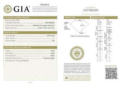 1.14 CT MATCHING PAIR J COLOR TRIANGULAR GIA CERT DIAMONDS EARRINGS TAXFREE Gift 1