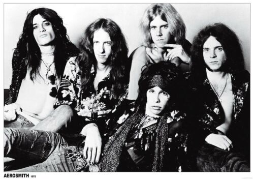 AEROSMITH BLACK AND WHITE GROUP POSTER 33 In x 24 In - EU - 1975