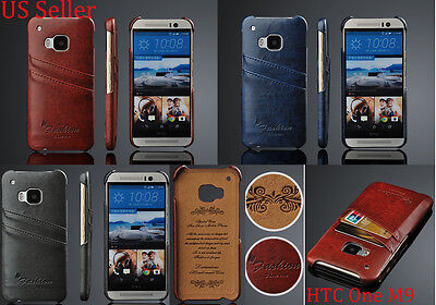 Luxury Wax Pu Leather Wallet Credit Card Slot Back Case Cover For Htc One M9