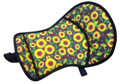 "Showman SUNFLOWER PRINT SEAT SAVER w/ fleece bottom 21.5"" x 12"" horse cushion"