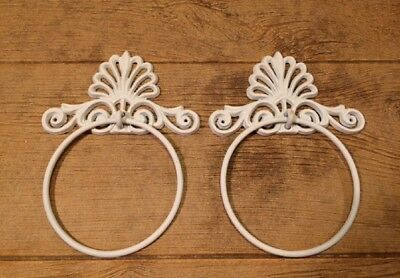 Ornate Crown Painted White Towel Ring Cast Iron 7 3/4