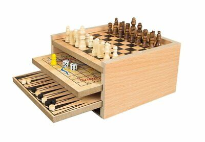 Deluxe Classic Wooden 7 in 1 Fun Family Games Set Chess, Draughts, Ludo and more Deluxe Wooden Chess Set