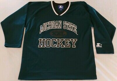 Vintage Michigan State University Starter Hockey Jersey Sz M Green White