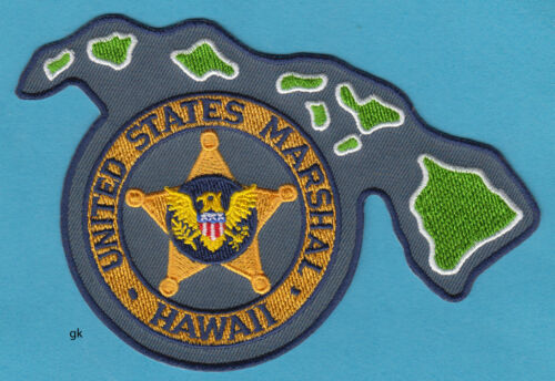 HAWAII US MARSHAL  STATE SHAPE  POLICE SHOULDER PATCH   (Yellow)