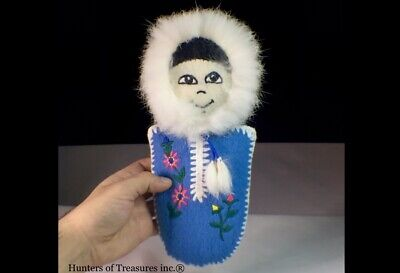 Old Vtg Inuit Eskimo Indian Wool Clothe Pin Cushion Doll Wall-hanging Arctic