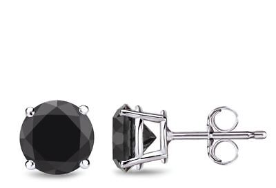 18k Brilliant Cut Stud - 2Ct Round Brilliant Cut Black Diamond Stud Earrings Solid 18K White Gold Finish