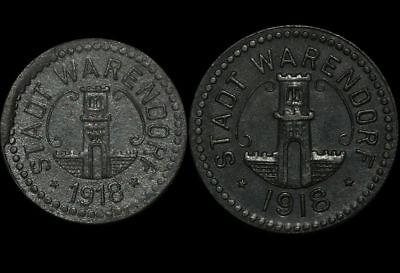 NOTGELD: 5 & 10 Pfennig 1918. Funck 575.1 & 2. STADT WARENDORF / WESTFALEN.