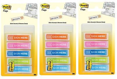 3 Packs - Post It Message Flags Sign Here Assorted Colors 100 Per Pack