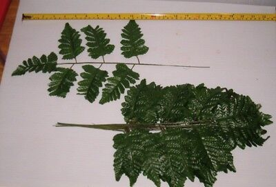 36 ASSORTED SIZES SILK LEATHER FERN STEMS  WHOLESALE, FREE SHIPPING