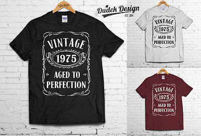 VINTAGE 1975 Birthday 40th T-SHIRT AGED TO PERFECTION Gift Present ANY AGE 50 60](40th Birthday Shirts)