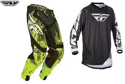 Fly Racing Yellow Black  Hydrogen  Pant Jersey Combo Mx Off Road Riding Gear Set