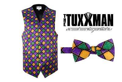 Mardi Gras Vest Bowtie Set Purple Gold Green S M L XL 2XL 3XL 4XL 5XL - Mardi Gras Tuxedo Vest