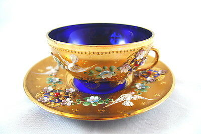 Antique Italian Cobalt Blue Glass and Gold Teacup & Saucer Ornate Relief Design