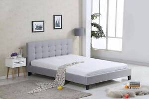Queen Size Fabric Upholstered Bed Frame Grey Dark Grey New Hoppers Crossing Wyndham Area Preview