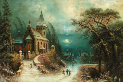 Winter church scene Oil painting Giclee Art HD Printed on canvas L3235