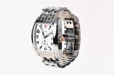 "Michele $725 Silver Stainless Steel ""Urban"" Quartz Bracelet Watch"