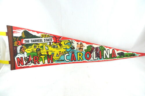 Vintage NORTH CAROLINA Pennant Souvenir Travel Pennant COLORFUL