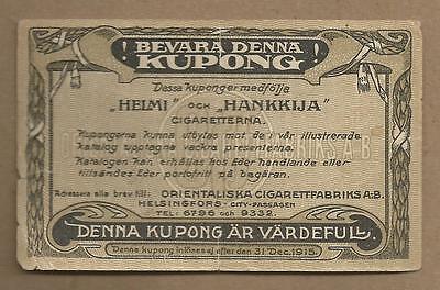 FINLAND TABACCO CIGARETTE CUPON 1915 VERY RARE  ISSUE!