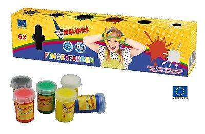 Malinos Fingermalfarben Finger Farben 6er Pack ab 2 Jahre, auswaschbar