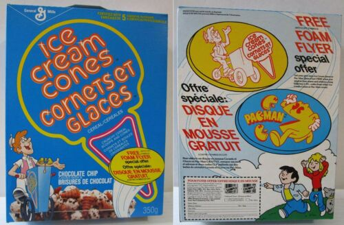 RARE Ice Cream Cones Cereal Box 1989 Pac-Man Foam Flyer offer Canadian pacman