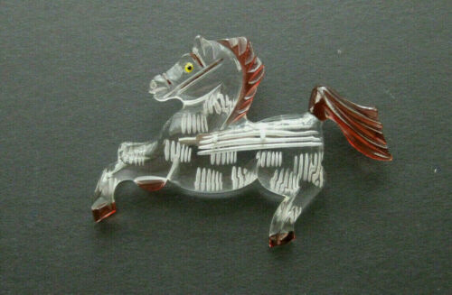 Vintage LUCITE HORSE Reverse carved  BROOCH/PIN