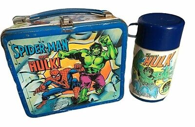 1980 Metal Marvel Lunch Box w Thermos Captain America Spiderman Incredible Hulk
